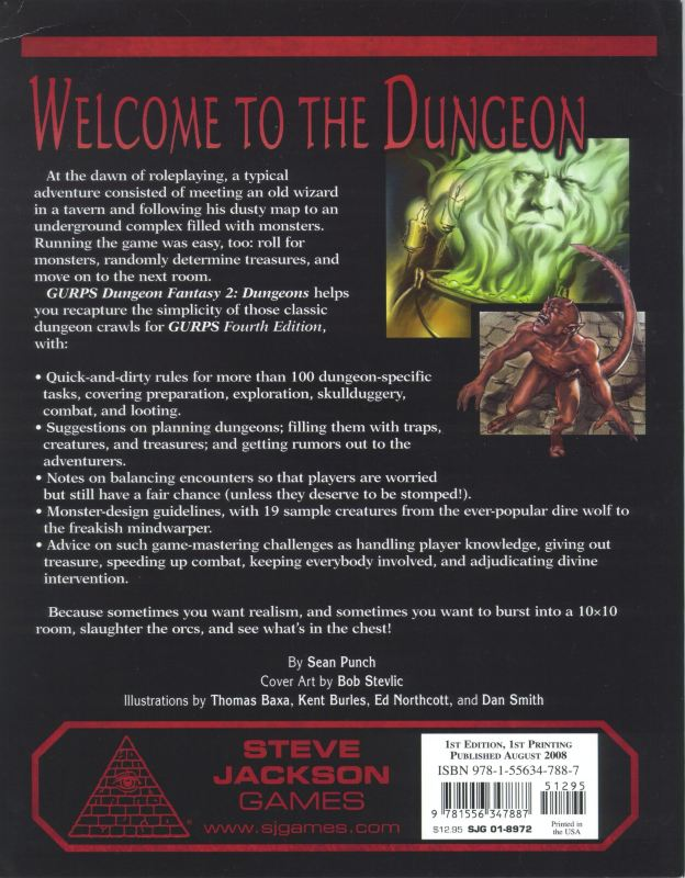 GURPS Dungeon Fantasy 2: Dungeons (Back)