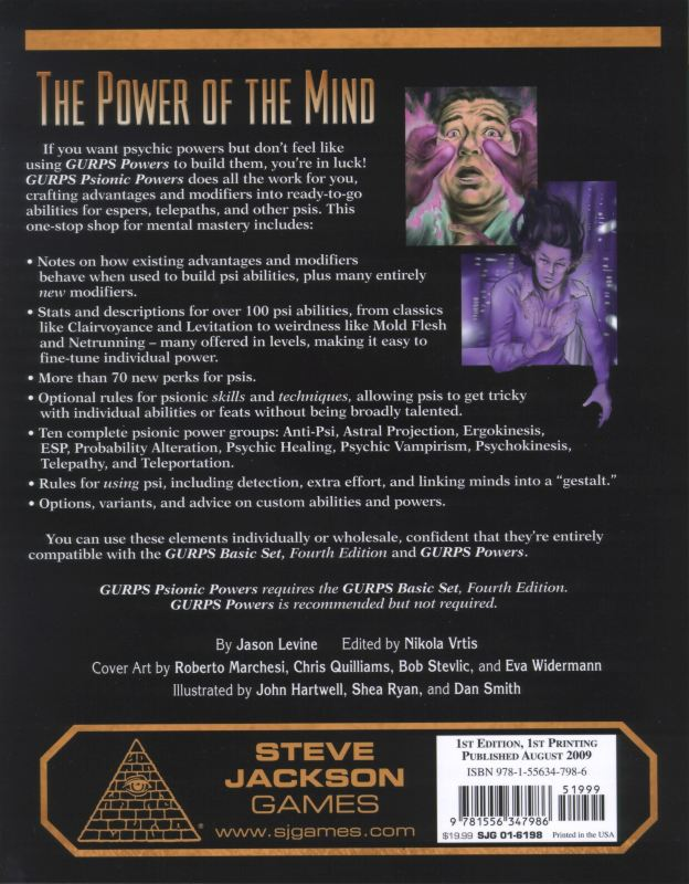 GURPS Psionic Powers (Back)