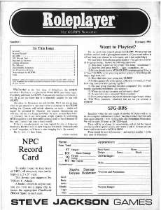 Roleplayer #01 - February 1986